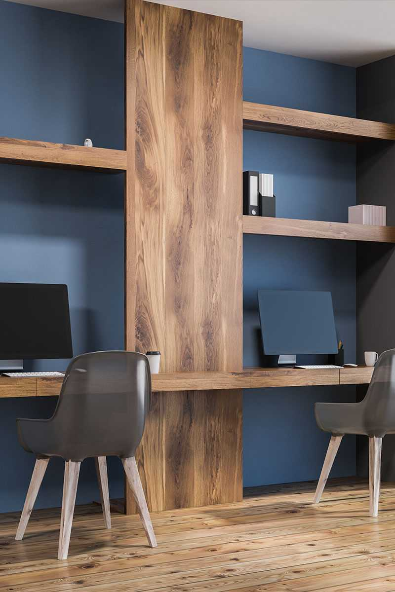 A Beespoke Home Hive Custom designed room transformation with a two-person desk and computer working area built into a wall alcove