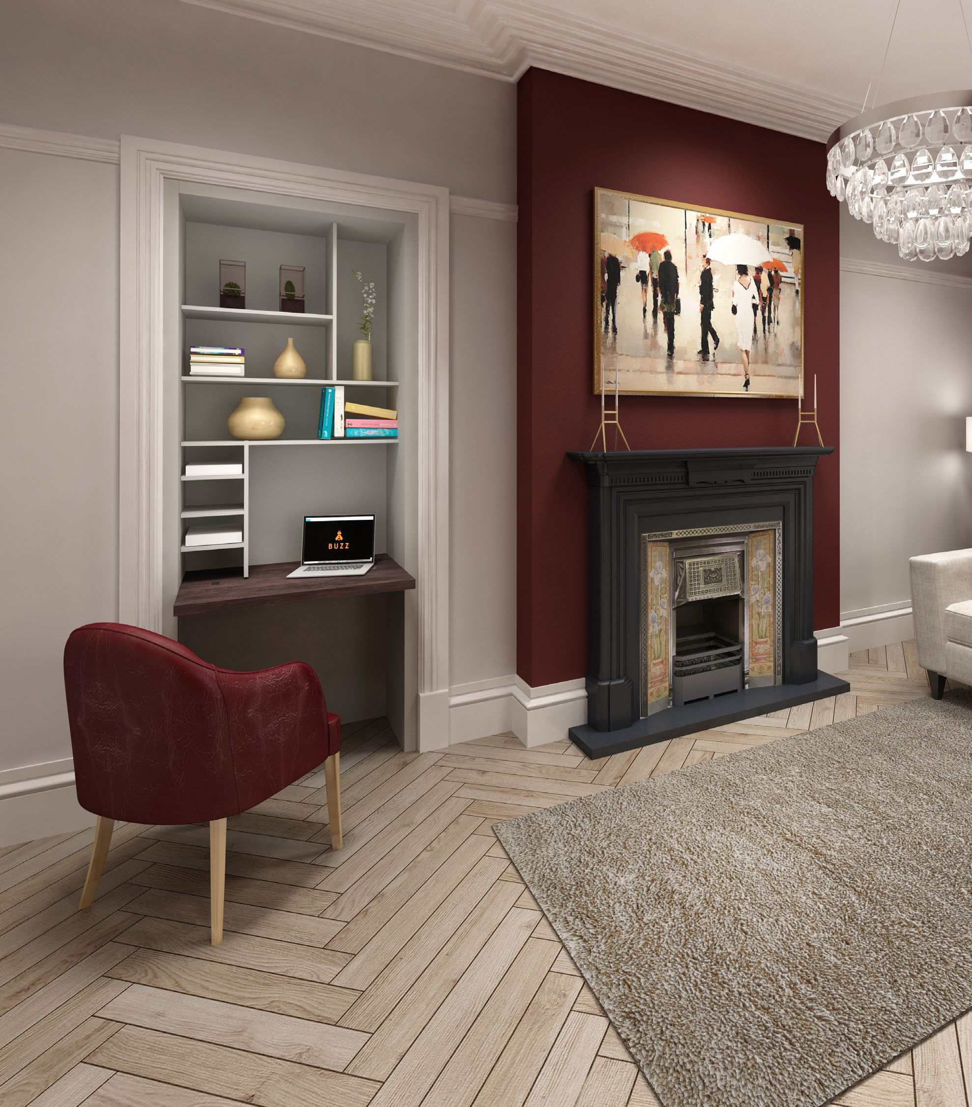 A buzz home office Beespoke alcove office small space in a rendered room