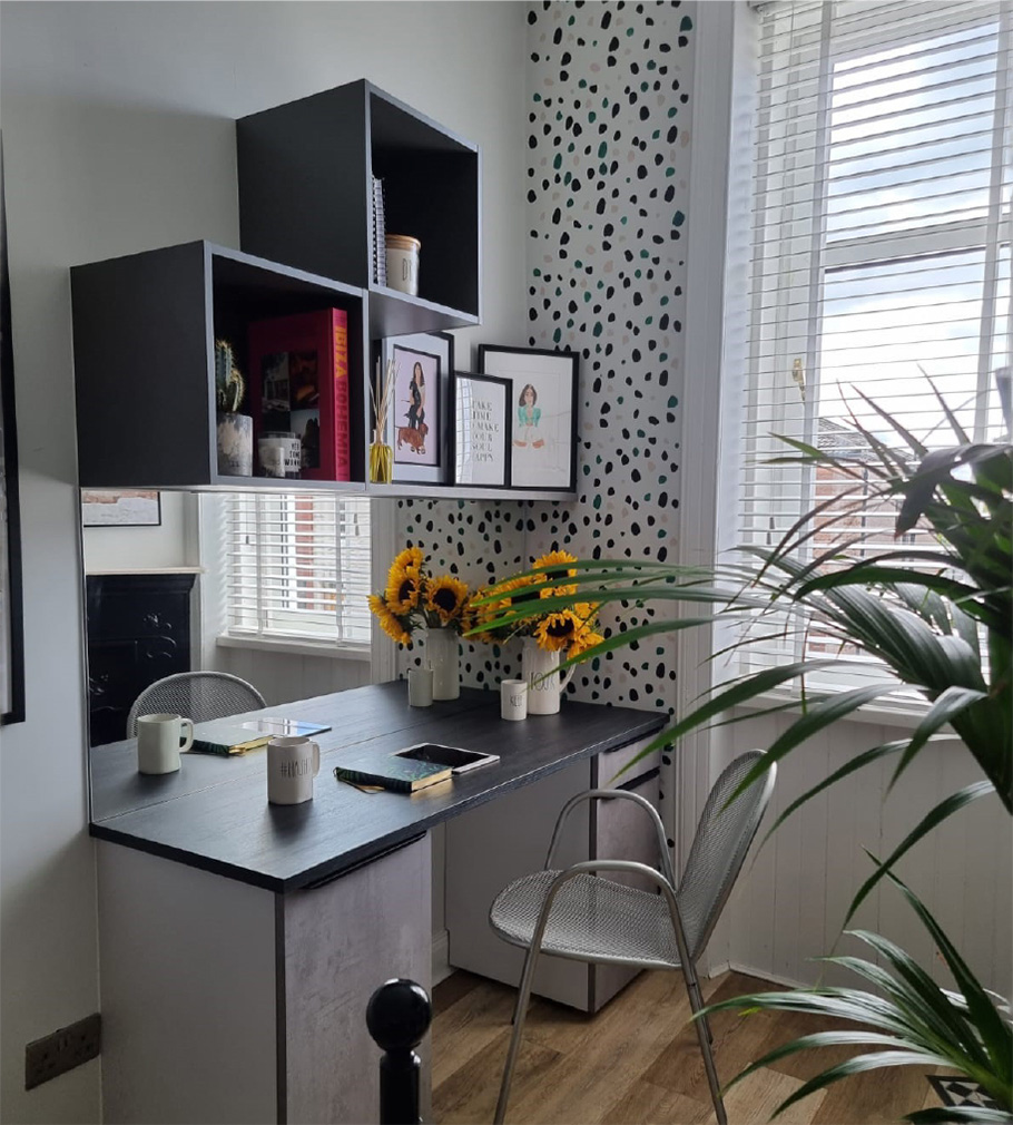 A freshly installed Buzz Home Office desk space and shelving within a customer's home