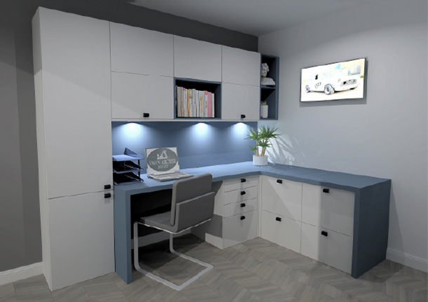 A computer aided design render of a buzz home office beespoke office space with a custom fitted desk and shelving with under-shelve led lighting