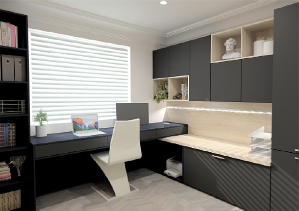 A computer aided design render of a buzz home office beespoke office space with a custom fitted desk and shelving